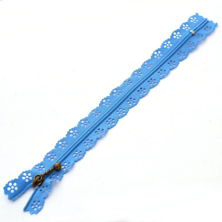 Fermeture Dentelle 20cm bleu