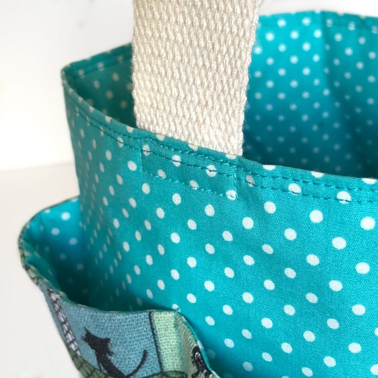 Corbeille vide-poches chats turquoise
